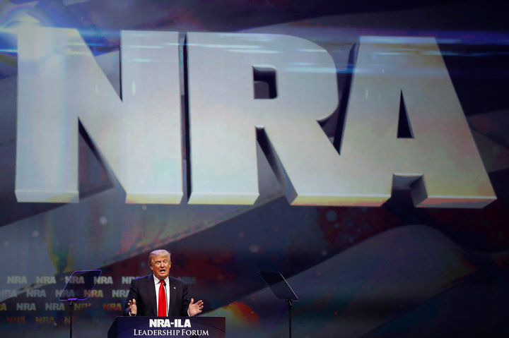 U.S. Republican presidential candidate Donald Trump attends the National Rifle Association's NRA-ILA Leadership Forum during their annual meeting in Louisville, Kentucky